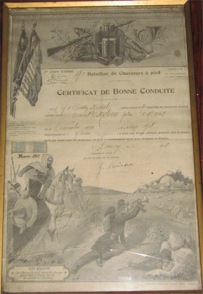 27° BCA au Maroc en 1925 Certif27bca-01